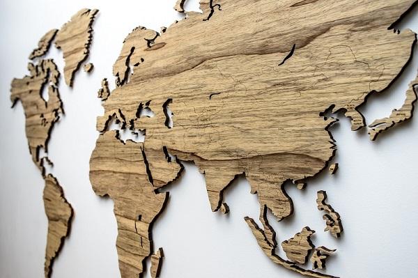 Sieninis medinis pasaulio žemėlapis Limba su šalių pavadinimais ir smeigtukais