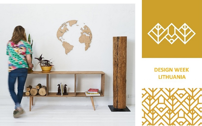 Wooden world map Globe exposition in Design week