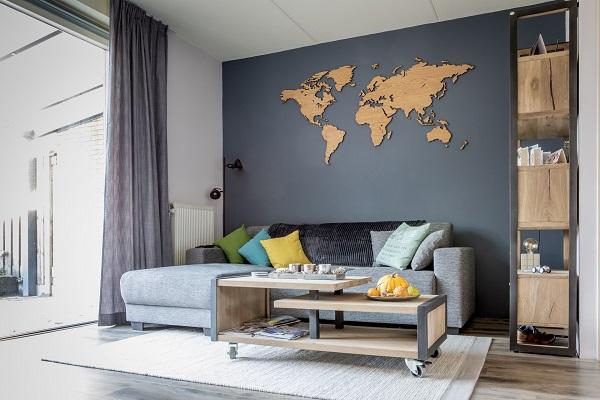 Weltkarte wand Eiche
