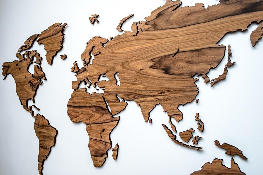 Detalus medinis pasaulio žemėlapis ant sienos prabangus medis palisanderis, Interjero dekoracija