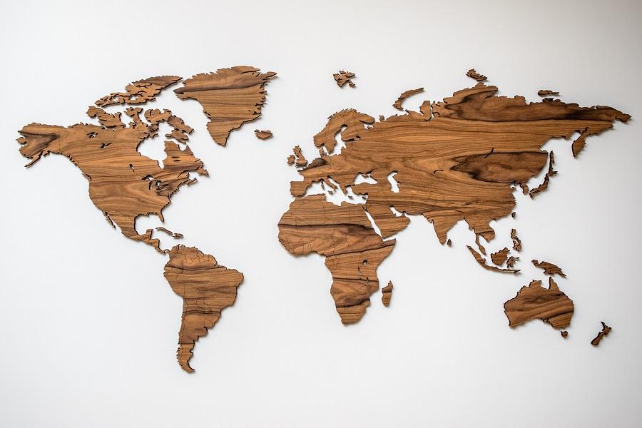 Medinis pasaulio žemėlapis sieninis interjerui Palisanderis