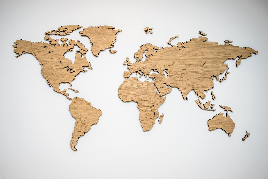 Medinis pasaulio žemėlapis su valstybėmis Ąžuolas, Map it Studio