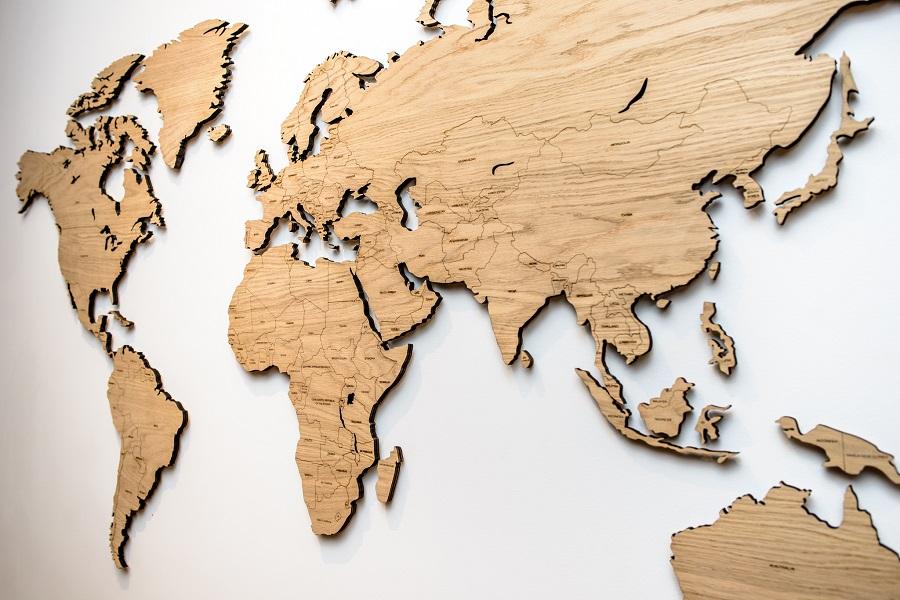 Sieninis medinis pasaulio žemėlapis su šalių valstybių pavadinimais, kelinių žemėlapis Map it Studio