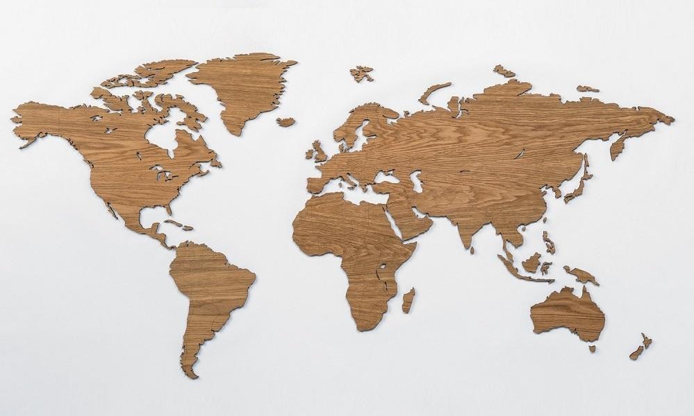 Sieninis medinis pasaulio žemėlapis su valstybėmis Ąžuolas