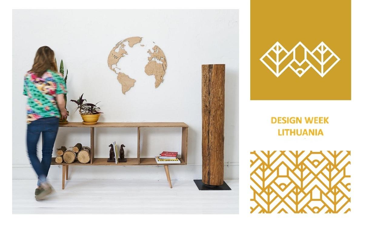 Weltkarte aus Holz Globus in der Designwoche